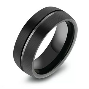 Black Stainless Steel Titanium Ring - Sz 10 - 13